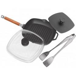 Сковорода-гриль со стеклянной крышкой и прессом (260 мм)