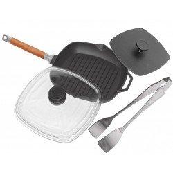 Сковорода-гриль со стеклянной крышкой(260 мм) и прессом(210х210мм)