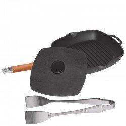 Сковорода-гриль чугунная с крышкой-прессом (240мм) 1024
