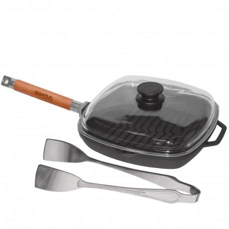 Сковорода-гриль чугунная со стеклянной крышкой (280 мм) 1028С