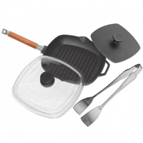 Сковорода-гриль чугунная со стеклянной крышкой (280 мм) и прессом (225х225мм)
