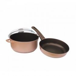 """Набор посуды """"СOOPER"""" (сковорода 240 мм и кастрюля 4л) с цветным покрытием К24ПС"""