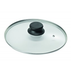 """Крышка стеклянная низкая с металлическим ободом для посуды """"Биол"""" (260мм)"""
