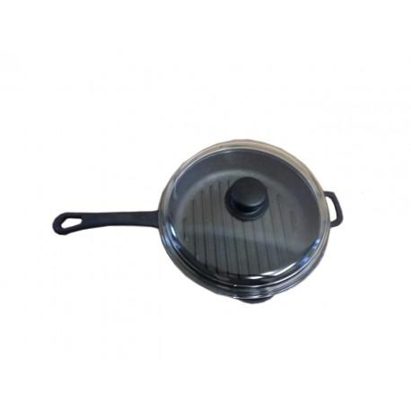 Сковорода-гриль с прессом и стеклянной крышкой с металлической ручкой  (260 мм) 1126с26пс