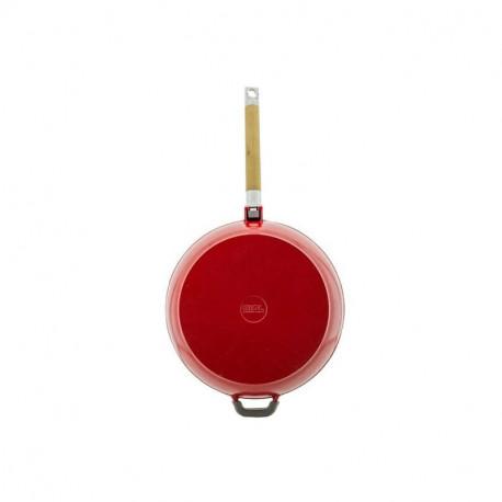 Сковорода чугунная эмаль (красный) 24 см БИОЛ со съемной ручкой