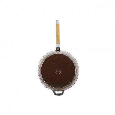 Сковорода чугунная эмаль (шоколад) 24 см БИОЛ со съемной ручкой