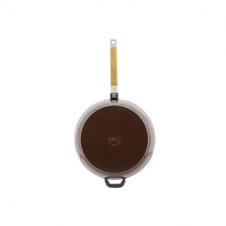 Сковорода чугунная эмаль (шоколад) 28 см БИОЛ со съемной ручкой