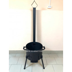Усиленная 3 мм печь под казан 12 л. с дверцей, дымоходом, заслонкой, зольником, колосником
