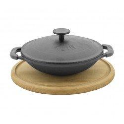 Сковорода ВОК (WOK) БИОЛ порционная чугунная 18 см с крышкой с деревянной подставкой, эмаль черная (матовая)